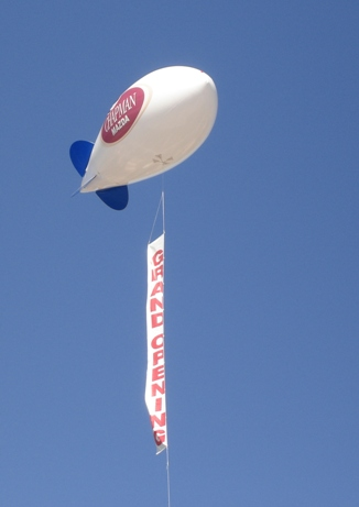 17 ft. advertising blimp with vertical banner - must be at least 17 ft. blimp to fly vertical banner